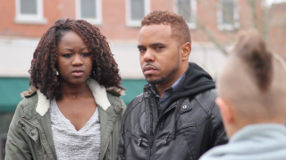 Raven Demi Massey and Leroy Kelly on location and completely in character.